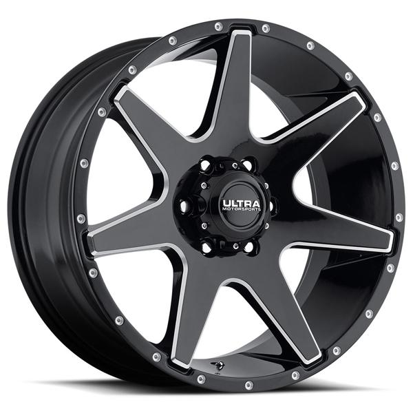TEMPEST 205 GLOSS BLACK RIM with MILLED ACCENTS by ULTRA WHEELS