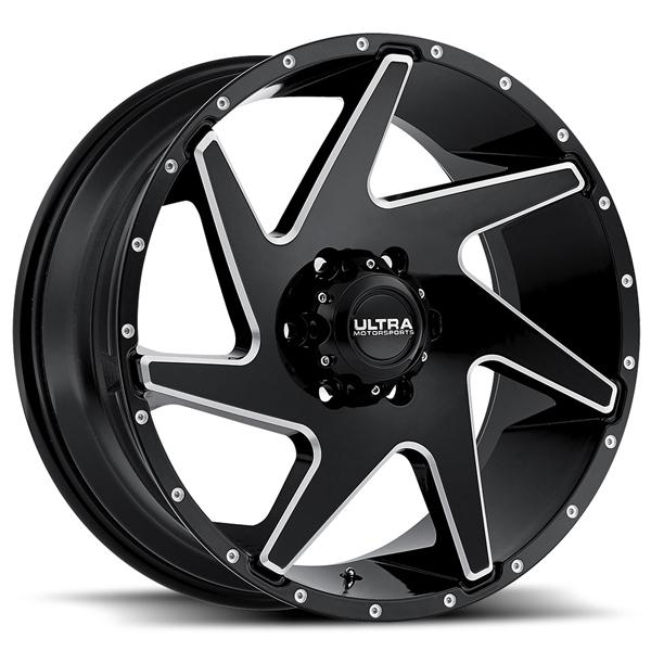 VORTEX 206 GLOSS BLACK RIM with MILLED ACCENTS by ULTRA WHEELS
