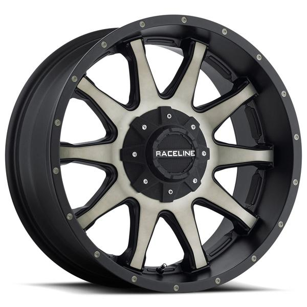 930DM SHIFT SATIN BLACK MACHINED RIM with DARK TINT by RACELINE WHEELS