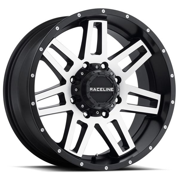 931M INJECTOR BLACK RIM with MACHINED FACE by RACELINE WHEELS