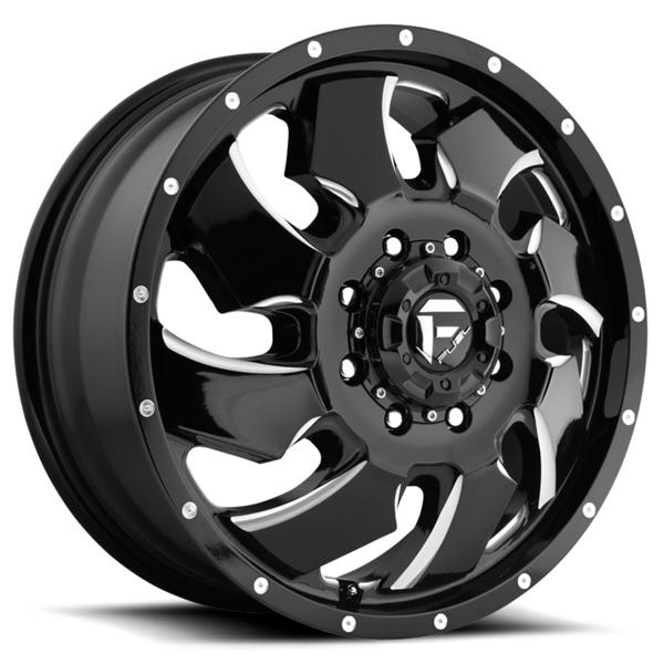 CLEAVER DUALLY D574 BLACK MILLED FRONT RIM by FUEL OFFROAD WHEELS