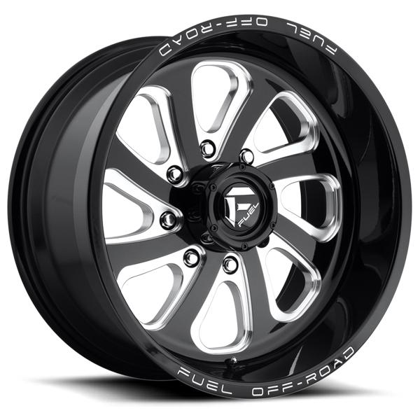 FLOW D587 GLOSS BLACK RIM with MILLED ACCENTS by FUEL OFFROAD WHEELS