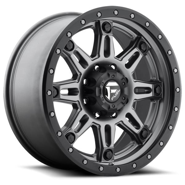 HOSTAGE III D568 MATTE ANTHRACITE RIM with BLACK RING by FUEL OFFROAD WHEELS