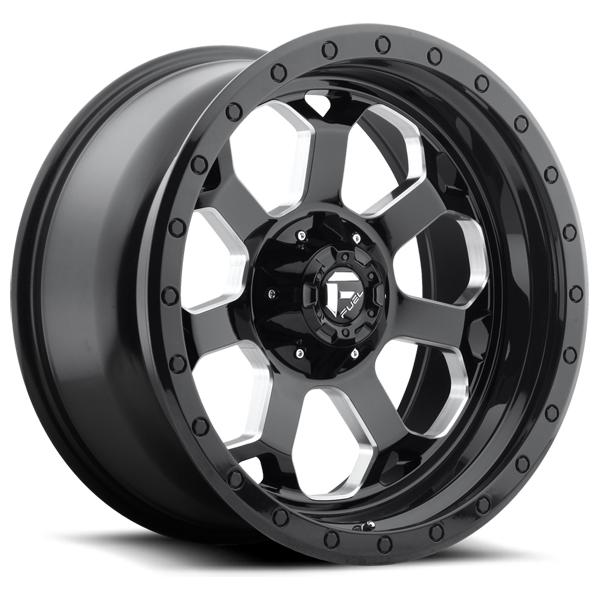 SAVAGE D563 GLOSS BLACK RIM with MILLED ACCENTS by FUEL OFFROAD WHEELS