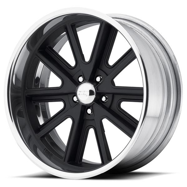 VN407 SHELBY COBRA SL BLACK CENTER RIM with POLISHED BARREL by AMERICAN RACING WHEELS