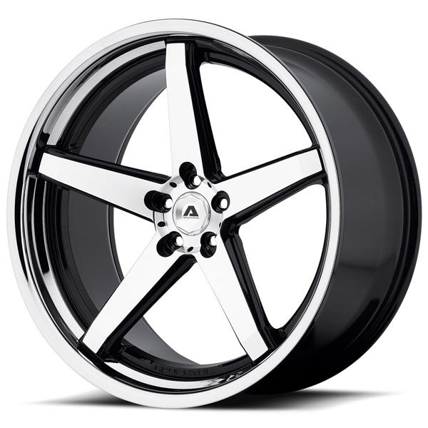 AVS-2 GLOSS BLACK RIM with MACHINED FACE and SS LIP by ADVENTUS WHEELS