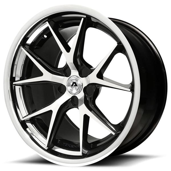 AVS-3 GLOSS BLACK RIM with MACHINED FACE and SS LIP by ADVENTUS WHEELS
