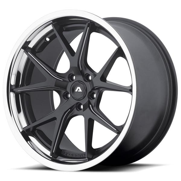 AVS-3 MATTE BLACK MILLED RIM with SS LIP by ADVENTUS WHEELS