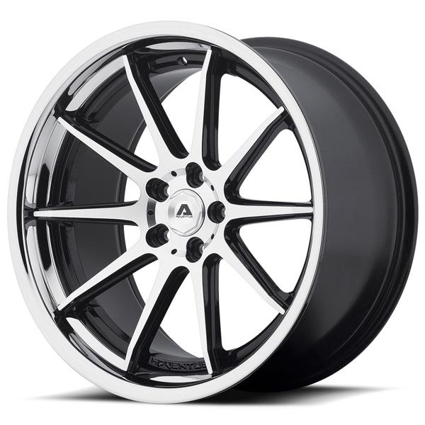 AVS-4 GLOSS BLACK RIM with MACHINED FACE and SS LIP by ADVENTUS WHEELS