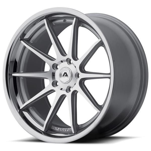 AVS-4 SILVER RIM with MACHINED FACE and SS LIP by ADVENTUS WHEELS