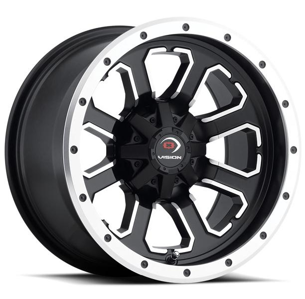 COMMANDER 548 ATV MATTE BLACK RIM with MACHINED FACE by VISION WHEELS