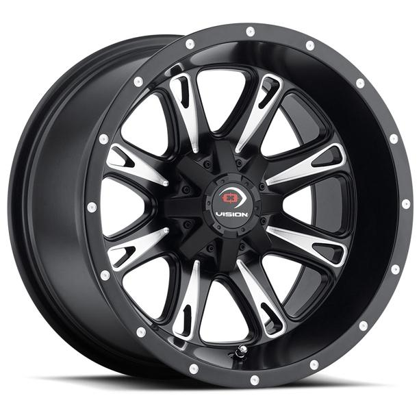 SNIPER 549 ATV MATTE BLACK RIM with MILLED SPOKES by VISION WHEELS