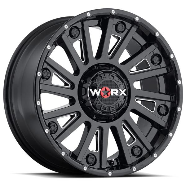 810 SENTRY GLOSS BLACK RIM with MILLED ACCENTS by WORX WHEELS
