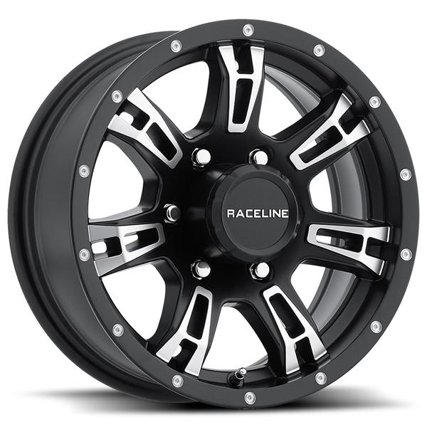 840 TRAILER ARSENAL BLACK RIM with MACHINED ACCENTS by RACELINE WHEELS