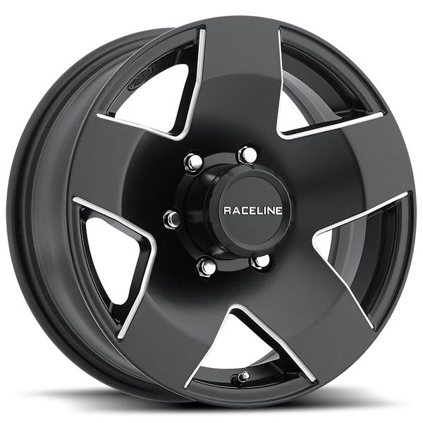 855 TRAILER BLACK RIM with MACHINED ACCENTS by RACELINE WHEELS