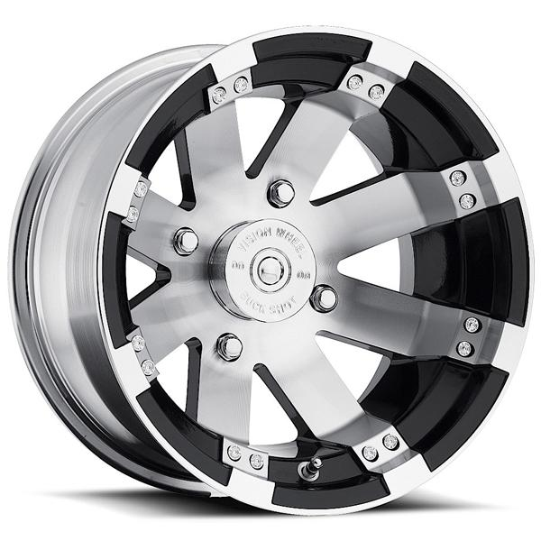 BUCKSHOT 158 ATV GLOSS BLACK RIM with MACHINED FACE by VISION WHEELS