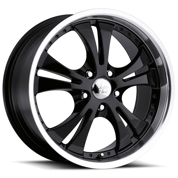 SHOCKWAVE 539 FWD GLOSS BLACK RIM with MACHINED LIP and CHROME CAP by VISION WHEELS