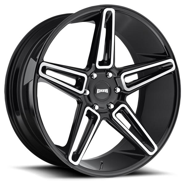 LIT S203 GLOSS BLACK RIM with BRUSHED FACE by DUB WHEELS