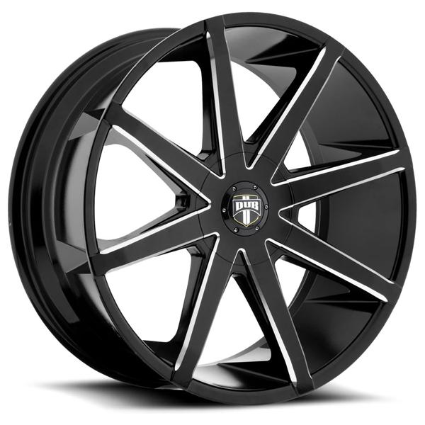 PUSH S109 GLOSS BLACK RIM with MILLED SPOKES by DUB WHEELS