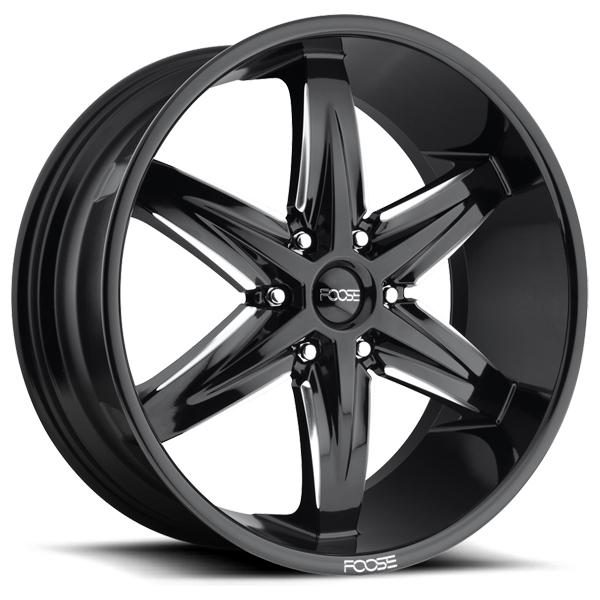SLIDER F162 GLOSS BLACK RIM with MILLED ACCENTS by FOOSE WHEELS