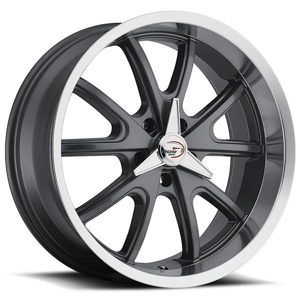 TORQUE 143 RWD GUNMETAL RIM with MACHINED LIP KNOCK-OFF STYLE CAP by VISION WHEELS
