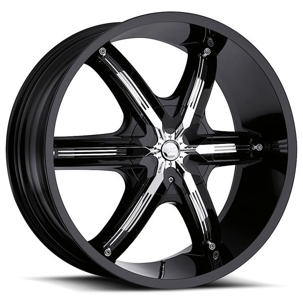 BEL AIR 6 460 RWD GLOSS BLACK RIM with CHROME INSERTS by MILANNI WHEELS