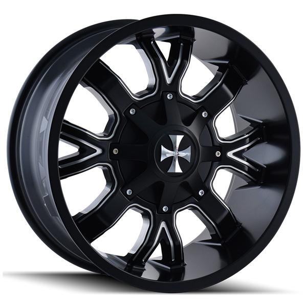 DIRTY 9104 SATIN BLACK RIM with MILLED SPOKES by CALI OFF-ROAD WHEELS