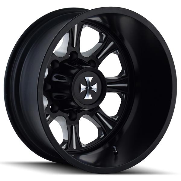 BRUTAL 9105 DUALLY BLACK REAR RIM with MILLED SPOKES by CALI OFF-ROAD WHEELS