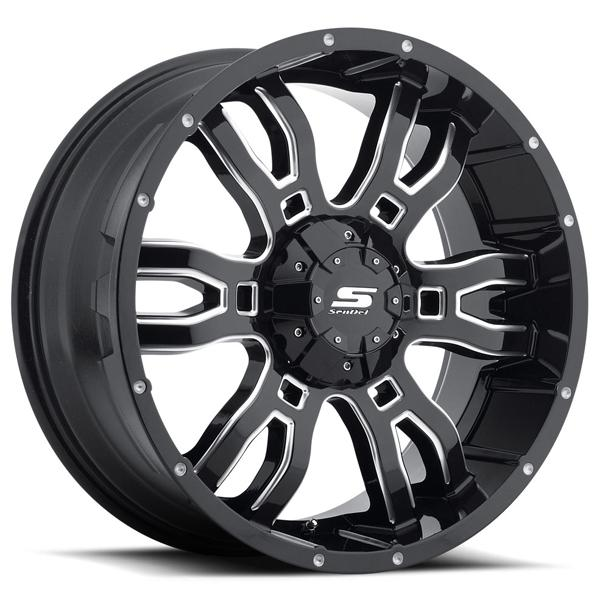 SENDEL S34 SNIPER GLOSS BLACK RIM with MILLED ACCENTS by SENDEL WHEELS