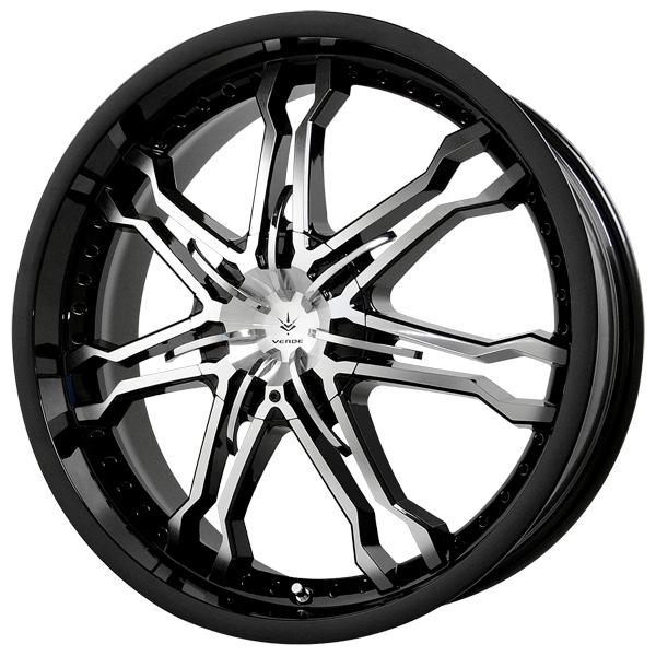 CALIBRE BLACK RIM with MACHINED FACE and CHROME INSERTS by VERDE WHEELS