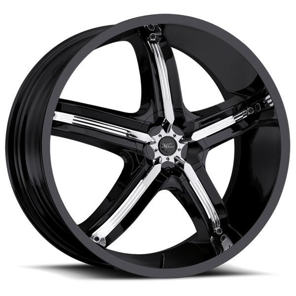 MILANNI BEL AIR 5 459 FWD GLOSS BLACK RIM with CHROME INSERTS DISPLAY SET 1 SET ONLY - SOLD AS IS by SPECIAL BUY WHEELS