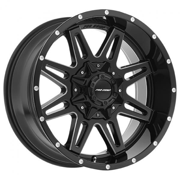 BLOCKADE SERIES 8142 GLOSS BLACK MILLED RIM by PRO COMP ALLOYS WHEELS