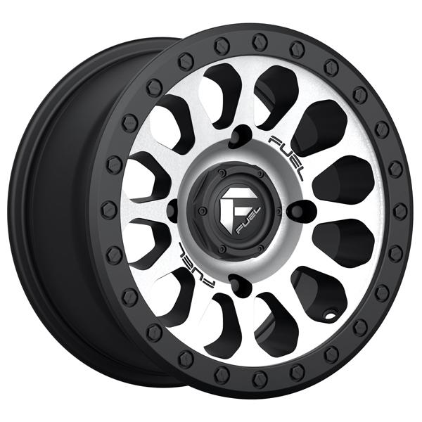 VECTOR UTV D580 GLOSS BLACK RIM with BRUSHED FACE and BLACK RING by FUEL OFFROAD WHEELS