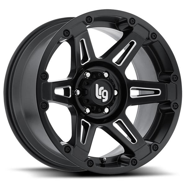 112 FADE BLACK RIM with MILLED SPOKES by LRG WHEELS