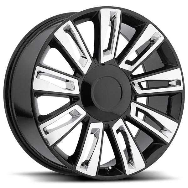 CADILLAC ESCALADE OPTION 3 2015 STYLE 58 BLACK RIM with CHROME INSERTS by FACTORY REPRODUCTIONS WHEELS
