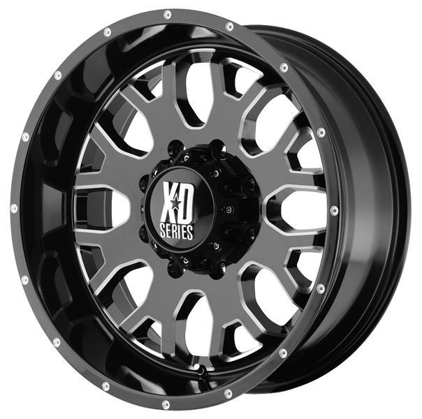 XD SERIES XD808 MENACE GLOSS BLACK RIM with MILLED ACCENTS PPT SET OF 5 JEEP by SPECIAL BUY WHEELS