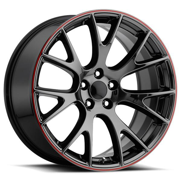 DODGE HELLCAT STYLE 70 PVD BLACK CHROME RIM with RED STRIPE by FACTORY REPRODUCTIONS WHEELS