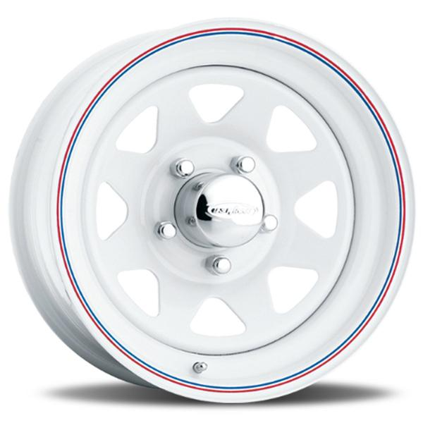 8-SPOKE 70 SERIES WHITE RIM with RED and BLUE PINSTRIPE by U.S. WHEEL