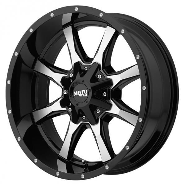 MOTO METAL MO970 GLOSS BLACK RIM with MACHINED FACE SET OF 5 JEEP by SPECIAL BUY WHEELS