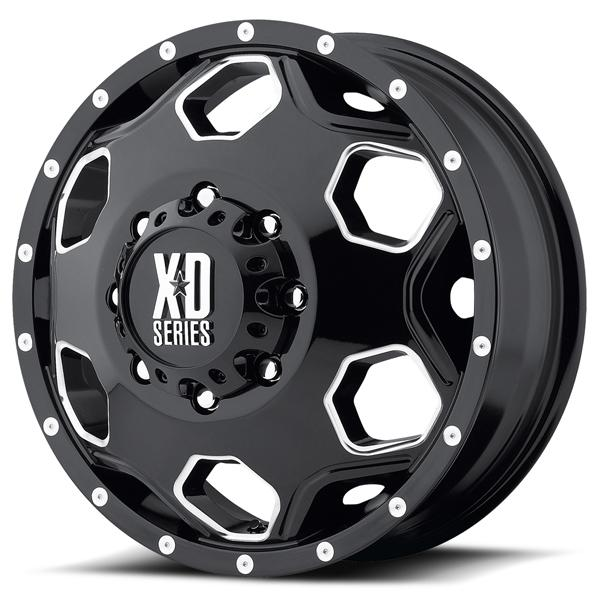 XD815 DUALLY BATTALION GLOSS BLACK MILLED FRONT RIM by XD SERIES WHEELS