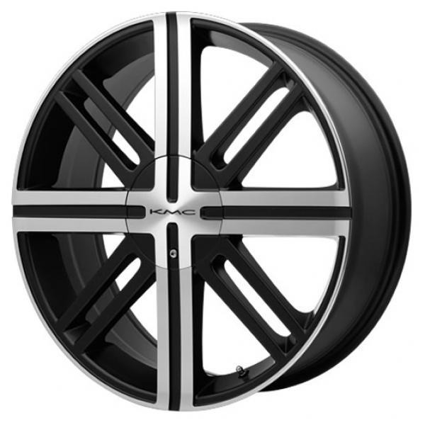 KMC KM675 SPLICE SATIN BLACK RIM with MACHINED FACE PPT by SPECIAL BUY WHEELS