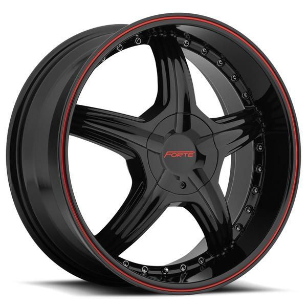 FORTE F45 REDRUM BLACK RIM with RED STRIPE DISPLAY SET 1 SET ONLY - SOLD AS IS by SPECIAL BUY WHEELS